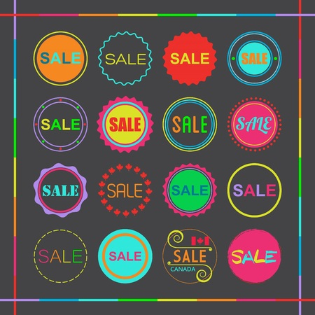 Colorful retro retail and shopping SALE tags icons set on black background