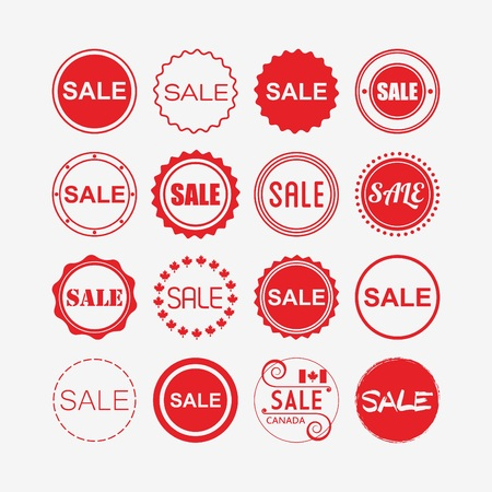 off white: Red retail and shopping SALE tags icons set on off white background