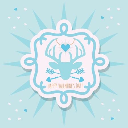 stylish decoration: Cute blue Happy Valentines Day deer emblem sticker and sunburst on blue background
