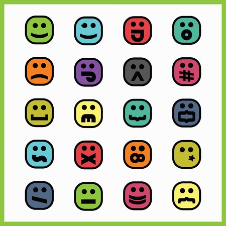 Thick black line colorful square emoticons and icons set on white background
