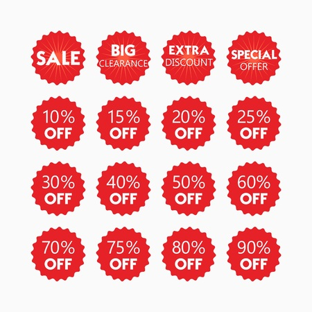 red retail: Red retail and shopping SALE and percentage tags icons set