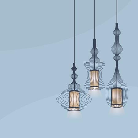 lit collection: Set of detail hanging lanterns light chandeliers on blue background