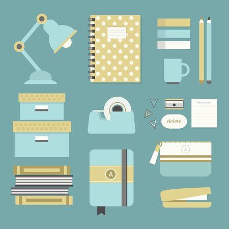 office stapler: Modern blue and beige office supplies and stationery icons set