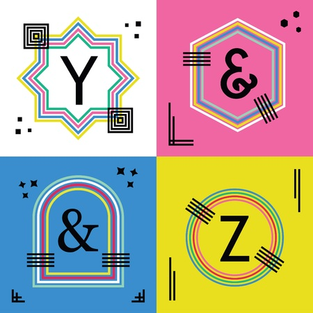 basic letters: Colorful line capital letters Y, Z, and ampersand symbols emblem icons set