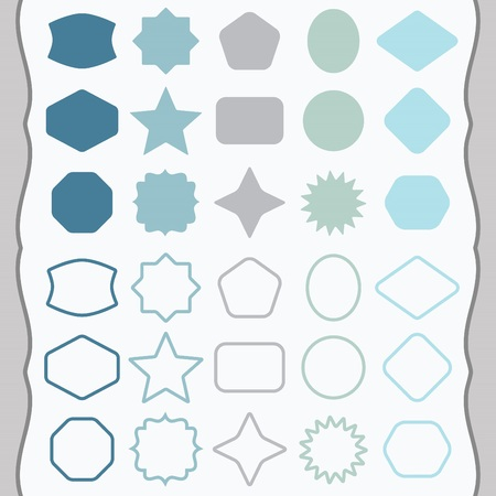 basic shapes: Matte blue and gray silhouette and outline basic shapes emblems icons set Illustration