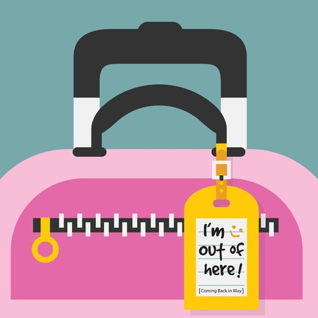 going away: Abstract close up yellow hanging travel tag with Im Out of Here message on it Illustration