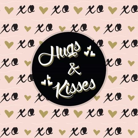 Hugs and Kisses bericht op zwarte cirkel en trendy roze XO patroon Stock Illustratie