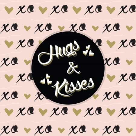 scrapping: Hugs and Kisses message on black circle and trendy pink XO pattern Illustration