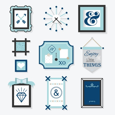 wall decoration: Modern blue hanging wall decoration objects set for design Illustration