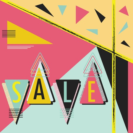 Abstract modern retro triangle SALE message layout 向量圖像