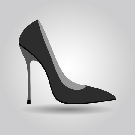 Single women stiletto high heel shoe icon on gray gradient background Illustration