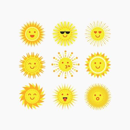 Mignon isolé soleil sourire émotif face icons set sur fond blanc