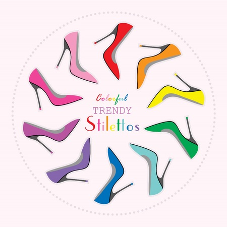 Circle arrangement of colorful stilettos high heels set
