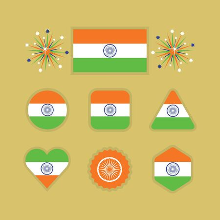 Indian national flag icons set with different shapes on golden background