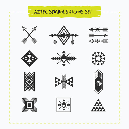 Black silhouette Aztec and tribal signs and symbols icons set on white background Çizim