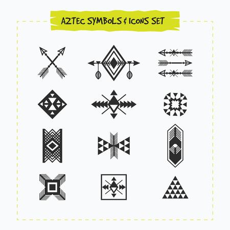 silhouette noire aztèques et tribaux signes et symboles icons set sur fond blanc