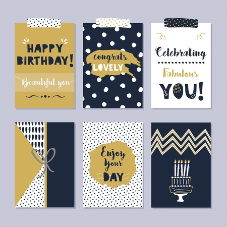 Golden and dark navy blue Happy Birthday cards set on trendy gray background