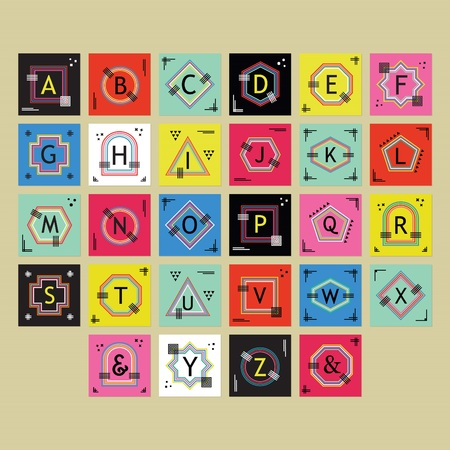 Geometrical colorful and trendy outlline alphabets labels set on beige background