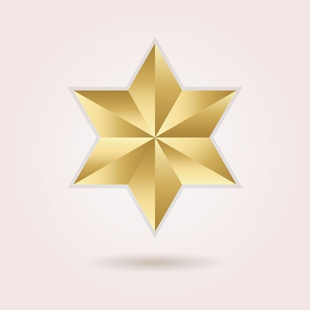 six objects: Golden abstract 3d six pointed star icon on pink background
