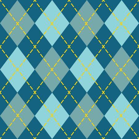 argyle: Trendy blue argyle seamless pattern - Modern design in teal, blue, and orange Illustration