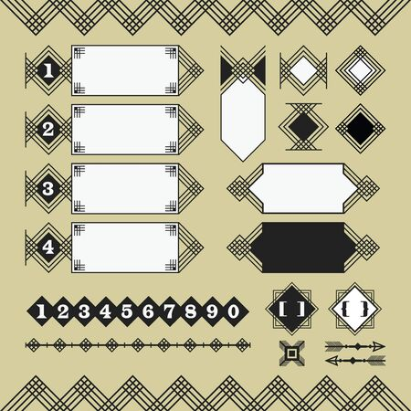 Set of black silhouette parallel lines web site design elements on beige background 일러스트