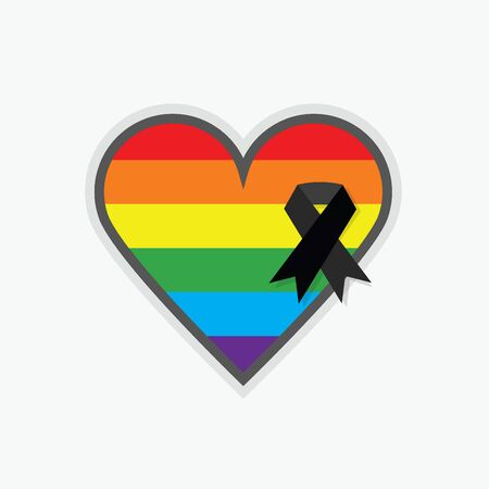 massacre: Rainbow pride flag Pattern in shape of a heart with black ribbon icon on white backgound Illustration