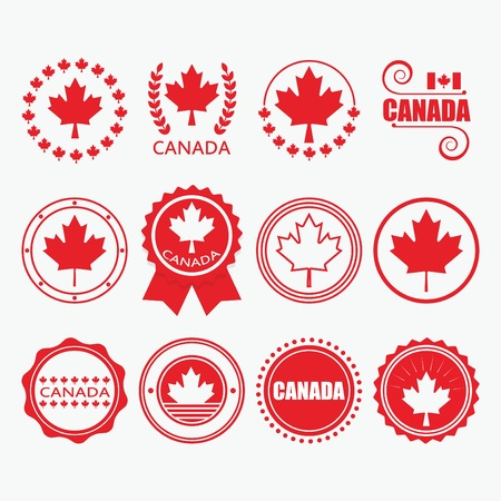 canada stamp: Red Canada flag emblems, stamps and design elements set