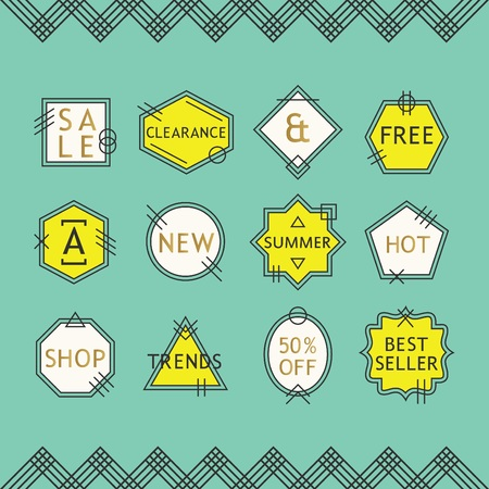 framing: Yellow and white line sale emblems set on green blue background with chevron pattern framing