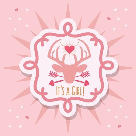 Cute pink baby girl deer emblem sticker and sunburst card on pink hearts background