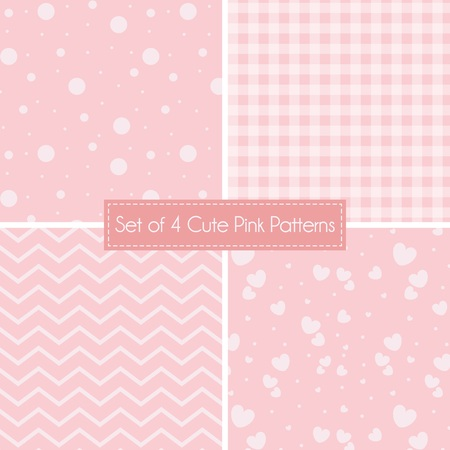 Set of 4 cute Pink Patterns and textures for backgrounds and wallpapers
