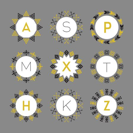 circular arrow: Black and golden monograms circle pattern emblems set on gray background