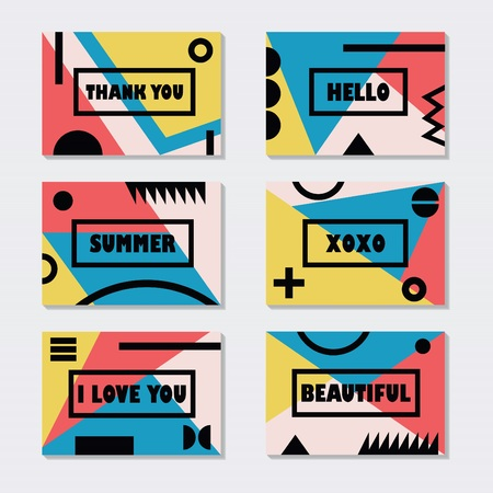 fashion design: Assorted modern retro color cards templates set with black messages and symbols Illustration