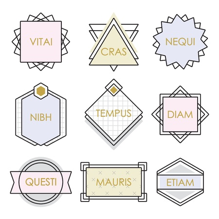 pastel like: Cute geometrical line vintage emblems and labels set