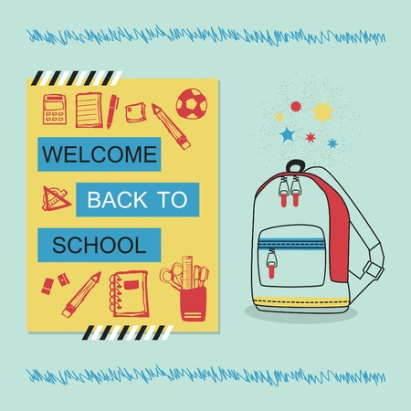 Welcome Back To School blue and yellow message with hand drawn school bag and stationery icons 일러스트