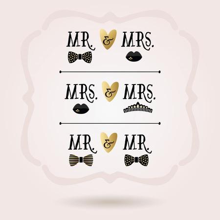 mrs: conceptuales Sr. y Sra., Sra y se�ora, y Sr. y Sr. iconos abstracto y negro de oro fijados en beckground rosa