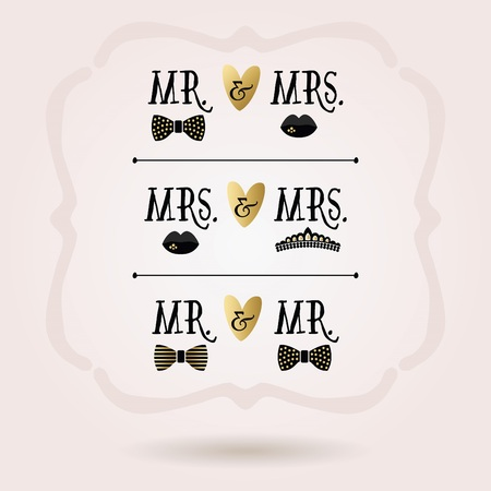 Black and golden abstract conceptual Mr. & Mrs. , Mrs. & Mrs. , and Mr. & Mr. icons set on pink beckground Illustration