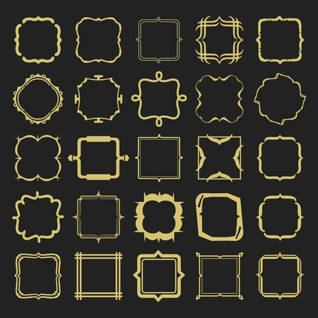 Set of golden different styles line emblems and frames design elements set on black background Illustration