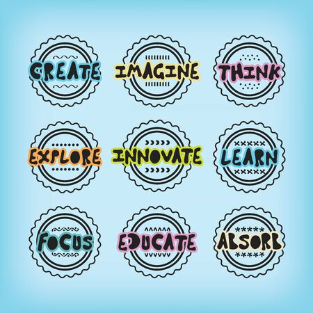 Black line stamps and labels set with colorful positive inspirational messages on blue background