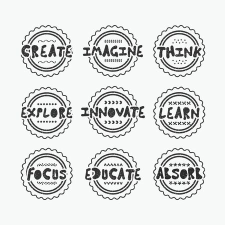 Black textured line stamps set with positive inspirational messages on white background