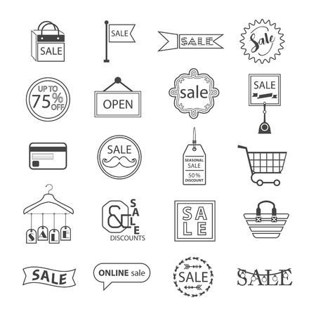 Black line SALE and shopping icons set on white background 向量圖像
