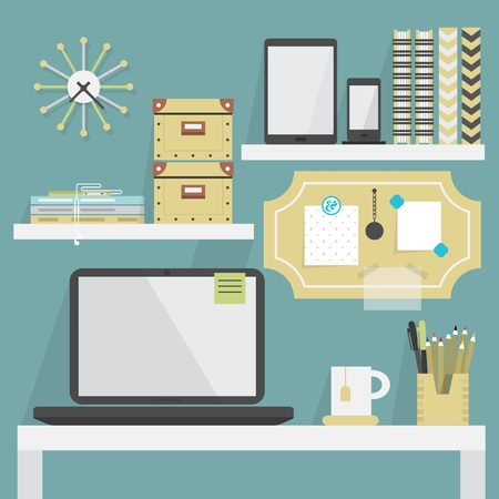 Close up of flat, modern, and trendy working place with some accessories Ilustração