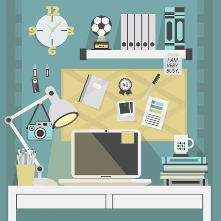 Flat, modern, and trendy teal working place with some accessory