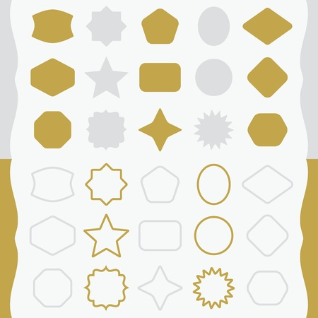matte: Matte golden and silver silhouette and outline basic shapes emblems icons set
