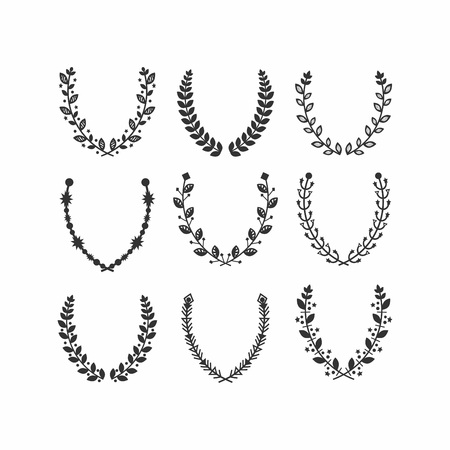 wreath set: Black silhouette leaves pattern laurel wreath set on white background