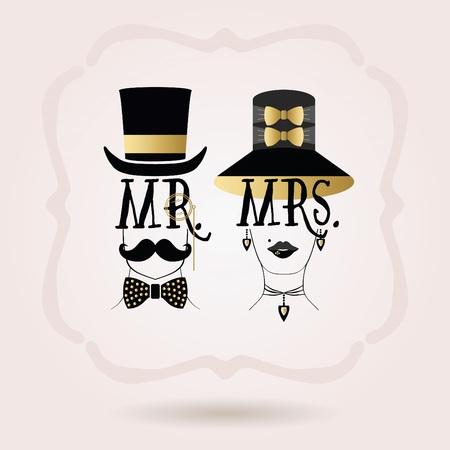 mrs: abstractos iconos de oro y negro Sr. masculinos y femeninos en la se�ora beckground gradiente de color rosa