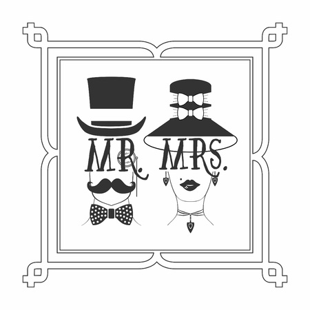 mrs: Black silhouette Mr. Male & Mrs. Female icons picture frame Illustration