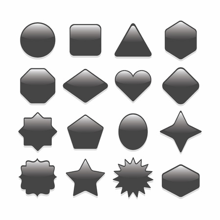 complete: Basic black complete basic geometrical shapes web buttons set Illustration