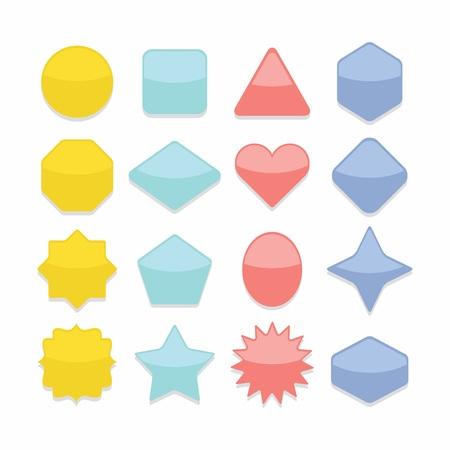 basic shape: Basic colorful geometrical shape web buttons complete set Illustration