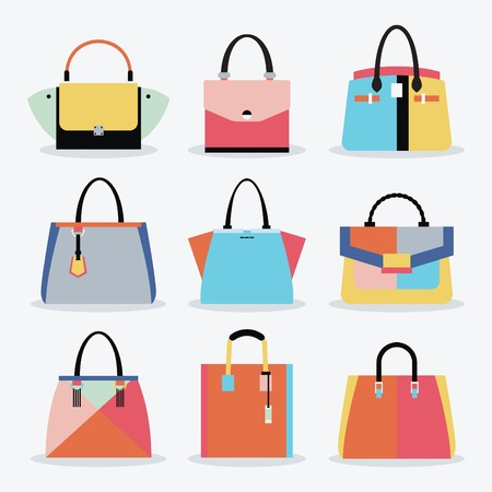 Retro colorful and trendy women isolated handbags and purse set