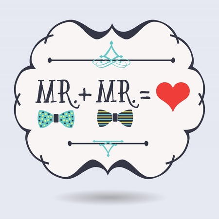 Abstract conceptual Mr. plus Mr. equals red heart icons on blue background